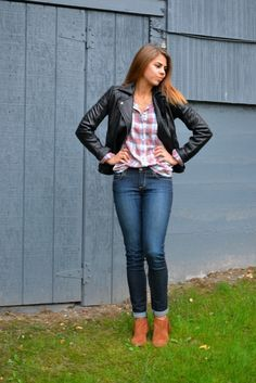 Plaid button down, leather jacket | Fishbowl Fashion