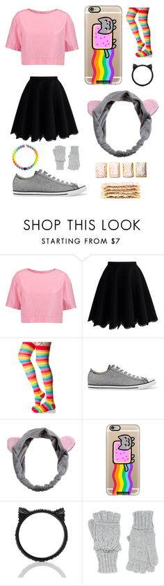 """DIY Halloween Costume Nyan Cat"" by pattibear ❤ liked on Polyvore featuring Marni, Chicwish, Leg Avenue, Converse, Casetify, Kate Spade and Accessorize"