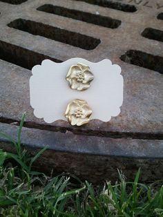 Gold Flower  Button Earings by kraftychix on Etsy, $2.75