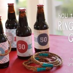 Ring Toss DIY {party games} - you could also wrap yellow paper around 2 liter bottles