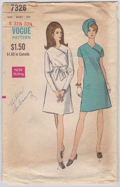 1960s Mod Dress Pattern Vogue 7326 A-Line Dress by FriskyScissors