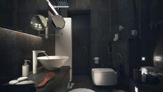 Stylish Dark Bathroom Design with Modern Furniture