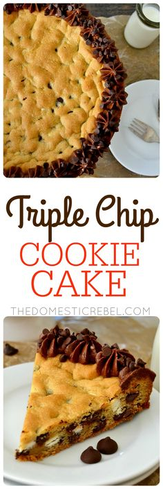 This Triple Chip Cookie Cake is for serious cookie lovers only! A buttery brown sugar & vanilla cookie packed with dark chocolate, semi-sweet chocolate & white chocolate and topped with a creamy chocolate frosting! Easy and effortless!