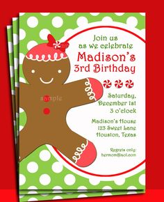 Christmas Gingerbread Girl Invitation Printable - Christmas Birthday, Baby Shower, Cookie Decorating. $15.00, via Etsy.