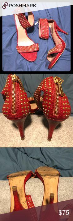 Zara red leather heeled sandals Zara red studded leather heeled sandals. They are really comfy, Zara Shoes Heels