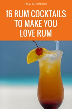 16 rum cocktails including white rum cocktail, dark rum cocktail and coconut rum cocktail to make you love rum. Learn about simple sum cocktail recipes including mojito, Pina colada and daiquiri as well as fancy new cocktails that use rums from around the Dark Rum Cocktails, Rum Cocktail Recipes, Rum Recipes, Fun Cocktails, Cocktail Drinks, Drinks With Bacardi Rum, Simple Cocktail Recipes, Drinks Made With Rum, Cocktails Made With Rum