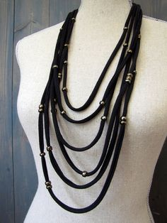 Black Multistrand Cotton Jersey Necklace with Bronze Accent Beads