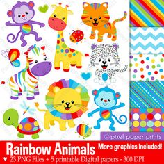 Rainbow Animals Clipart - Clip Art and Digital paper set