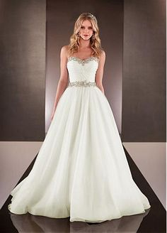 Elegant Organza Satin & Tulle Sweetheart Neckline Natural Waistline A-line Wedding Dress With Beaded Lace Appliques