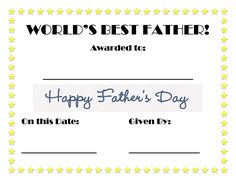 Worlds best dad certificate fathers day crafts pinterest fathers day printable certificate yadclub Images