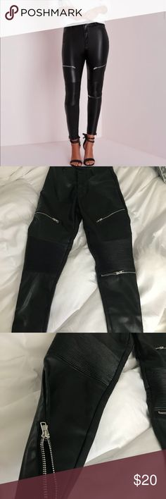 Missguided faux leather skinny pants Faux leather. Detailed skinny pants. Super cute and stretchy. Missguided Pants Skinny