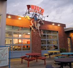 phil's ice house. Yummy burgers, Amy's Ice cream and a playscape! What more can you ask for.