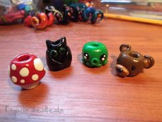Some polymer clay dread beads by https://www.facebook.com/dinowsdreadbeads