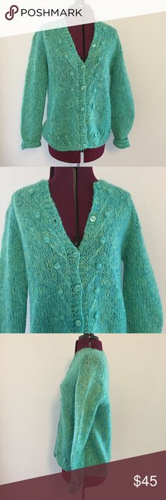 Vintage 50's 60s Mohair Wool Knit Cardigan Sweater Gorgeous 50s or 60s vintage hand knitted mohair or mohair blend sweater.  This is a gorgeous vibrant deep aqua and lemon lime button down cardigan.  It has puffy ball accents with lined details leading from them - very cool and unique.  No size tag but about a large.  Measurements listed above.  Color is deeper than my monitor shows - the color is incredible in hand. Vintage Sweaters Cardigans