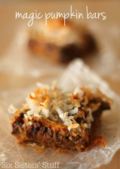 These Pumpkin Magic Bars from SixSistersStuff.com have so many delicious, gooey layers!