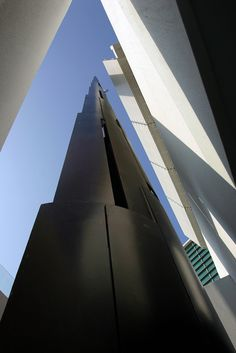 Steel minaret of Assyafaah Mosque in Singapore.  Built in 2004, designed by Tan Kok Hiang and Forum Architects.
