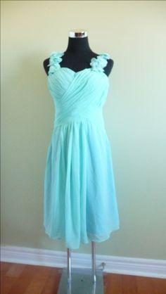 Chiffon Tiffany Blue Bridesmaid Dress Knee by Prettyobession, $85.00