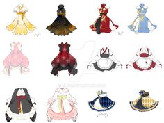 Norigae is the most famous accessory of Hanbok, which hung from the ribbon of Jeogori (Goreum). It is basically comprised of a string + decorative knots + jewelry + a tasse. Dress Drawing, Drawing Clothes, Drawing Poses, Manga Drawing, Character Outfits, Character Art, Anime Dress, Anime Outfits, Lolita Fashion