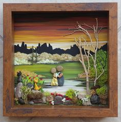 FREE SHIPPING This will be made to order just for you (handpainted). Beautiful piece depicting a sweet couple in the desert getting married....with their two cats at witnesses ! Note: You may choose any number of people and/or pets, or theme for your custom piece. The 9x9x2 glass