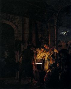 The Blacksmith's Shop by Joseph Wright of Derby. Or anything by him