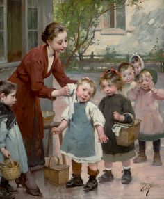 HENRY JULES JEAN GEOFFROY (French, 1853-1924). The Teacher's Touch.