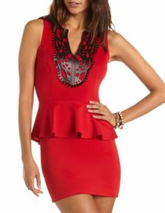 laser cut scuba peplum dress $36.99