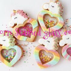 Rainbow Glass, Rainbow Food, Cake Cookies, Sugar Cookies, Stained Glass Cookies, Unicorn Foods, Unicorn Cookies, Food Crafts, Heart Patterns