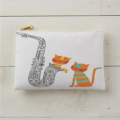 Playful cats with saxophone
