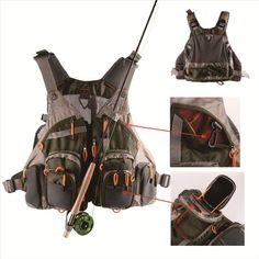 Get your outdoor gear up and carry all your fishing gear on your new Fishing Vest with multiple bags and pouches. Made of extremely durable polyester this vest is perfect for those who love the outdoo