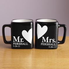 """""""Mr. and Mrs."""" Mug Set, Black.   I would like it even better if it didn't say the last names and dates, actually."""