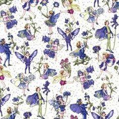 Michael Miller Flower Fairies Petite Fairies Periwinkle
