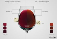 Compare the different colors found in different red and white wines.
