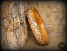 Bentwood Bethlehem Olive Wood Wedding Rings Silver Glass Inlay - Bentwood Wood Rings - Custom handcrafted wooden rings both durable and unique