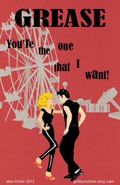 GREASE Original Poster Design by guiltycubicle on Etsy, $15.00...for the movie room VISIT http://eclipcity.com
