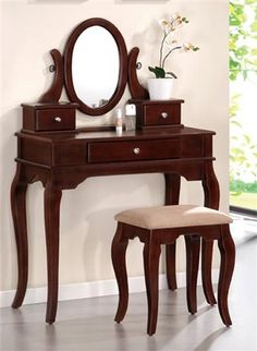 cherry makeup vanity table with mirror. charlotte cherry makeup vanity table set w/ bench with mirror