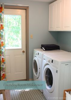 Absolutely LOVE this Laundry Room Makeover!  Beautiful blue, great sink, and plentiful cabinet space.