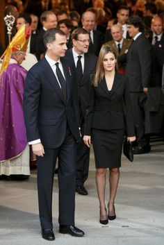 MYROYALS &HOLLYWOOD FASHİON: Spanish Royal Family attended the state funeral of former Prime Minister Adolfo Suarez at Almudena Cathedral in Madrid-Crown Prince Felipe and Crown Princess Letizia, March 31, 2014