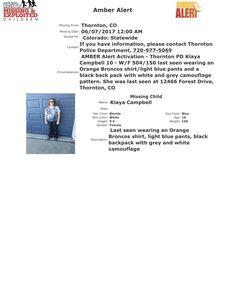 AMBER Alert, CO, Thornton. 6/8/17. CO AMBER Alert | MIssing Children Task Force