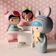 Bff and Birthday Girl, message dolls by Momiji. Inside each one there's a tiny folded card for your own secret message, dream or wish.  Momiji work with up and coming design talent from around the world to produce their limited edition collections.