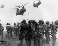 US Marines await incoming Boeing Vertol CH-46 Sea Knights.   #VietnamWarMemories
