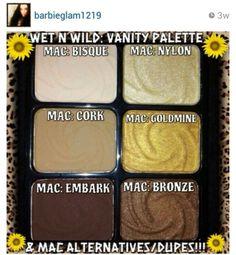 Mac eyeshadow dupes from wnw vanity palette