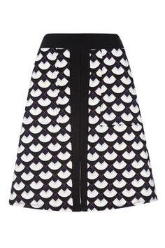 Monochrome Printed A-Line Skirt