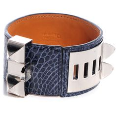 2e1b75c5c6f HERMES Shiny Alligator Collier De Chien CDC Bracelet Small Bleu Abysse... ❤  liked