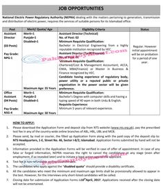 sTitle Of Job  Detail of Job  Name Of Job  National Electric Power Regulatory Authority (NEPRA) Jobs 2017  Job Which Province  Punjab KPK Baluchistan  Sindh Pakistan  District/City  All Pakistan Districts  Government/Private  Government  Number of Posts  07  Method Of Apply  Application Form  Publish Date  25 March 2017  Last Date  10 April 2017  News Paper  Express  National Electric Power Regulatory Authority (NEPRA) Jobs 2017NEPRA dealing with the matters pertaining to generation…