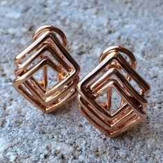 Geometric Stud Earrings Details:	  Measurements: (Width x Height in cm) 0.8  x 0.6 Metal: Brass 14K Rose gold plated / Gift Packaging Victoria Perez Collection Jewelry Earrings