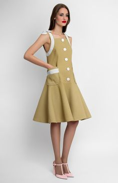 Ribbon-trim thick cotton dress. Front buttons. Patch pockets. Decorative trim with cotton-ribbon shoulder bows. Unlined. #Pintel #work #cocktail #party #babydoll #cotton #dress #cute #pretty #midi #style #ribbon