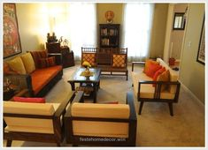 the east coast desi: Blend and Create Style Perfected (Home Tour) Ethnic Home Decor, Indian Home Decor, Living Room Designs, Living Room Decor, Living Spaces, Indian Home Interior, Indian Interiors, Wooden Sofa Set, Beautiful Sofas