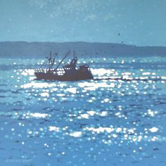 Gordon Hunt   A Newlyn fishing trawler comes home with the catch. Acylic on canvas.