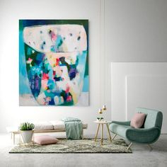 Abstract painting, acrylic painting, abstract art, wall art, home decor, floral, large painting, blue, wall decor, blue art de VictoriAtelier en Etsy