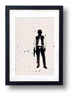 Star Wars han solo watercolor illustrations art sci fi poster wall art minimalist art home decor movie poster geek art